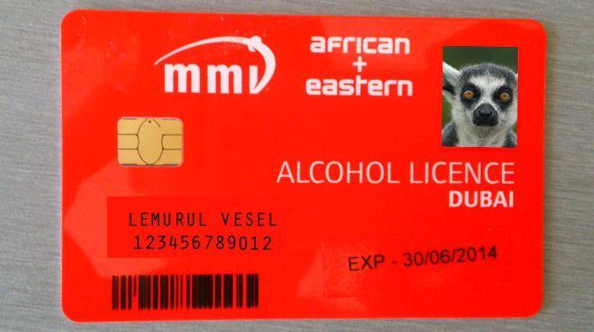 Пример алкогольной лицензии в Дубае