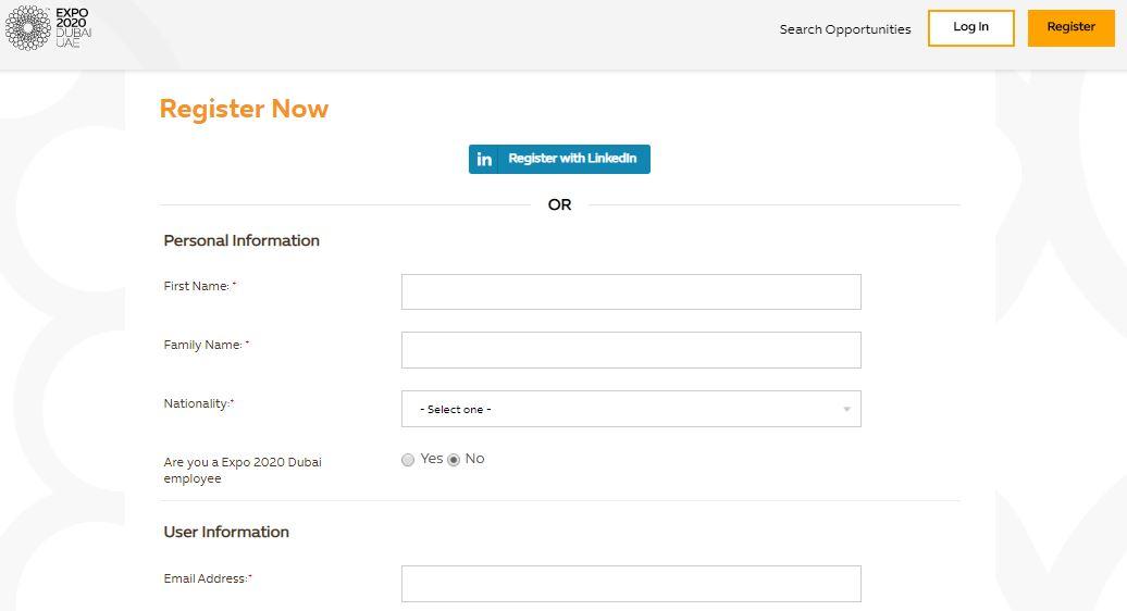 Регистрация на официальном сайте ЭКСПО-2020