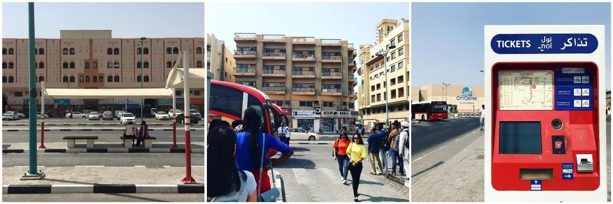 Автовокзал Al Ghubaiba, очередь на автобус до Абу-Даби и пополнялка для nol-карточек.