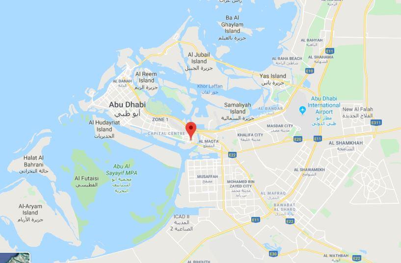 Расположение объекта в Абу-Даби