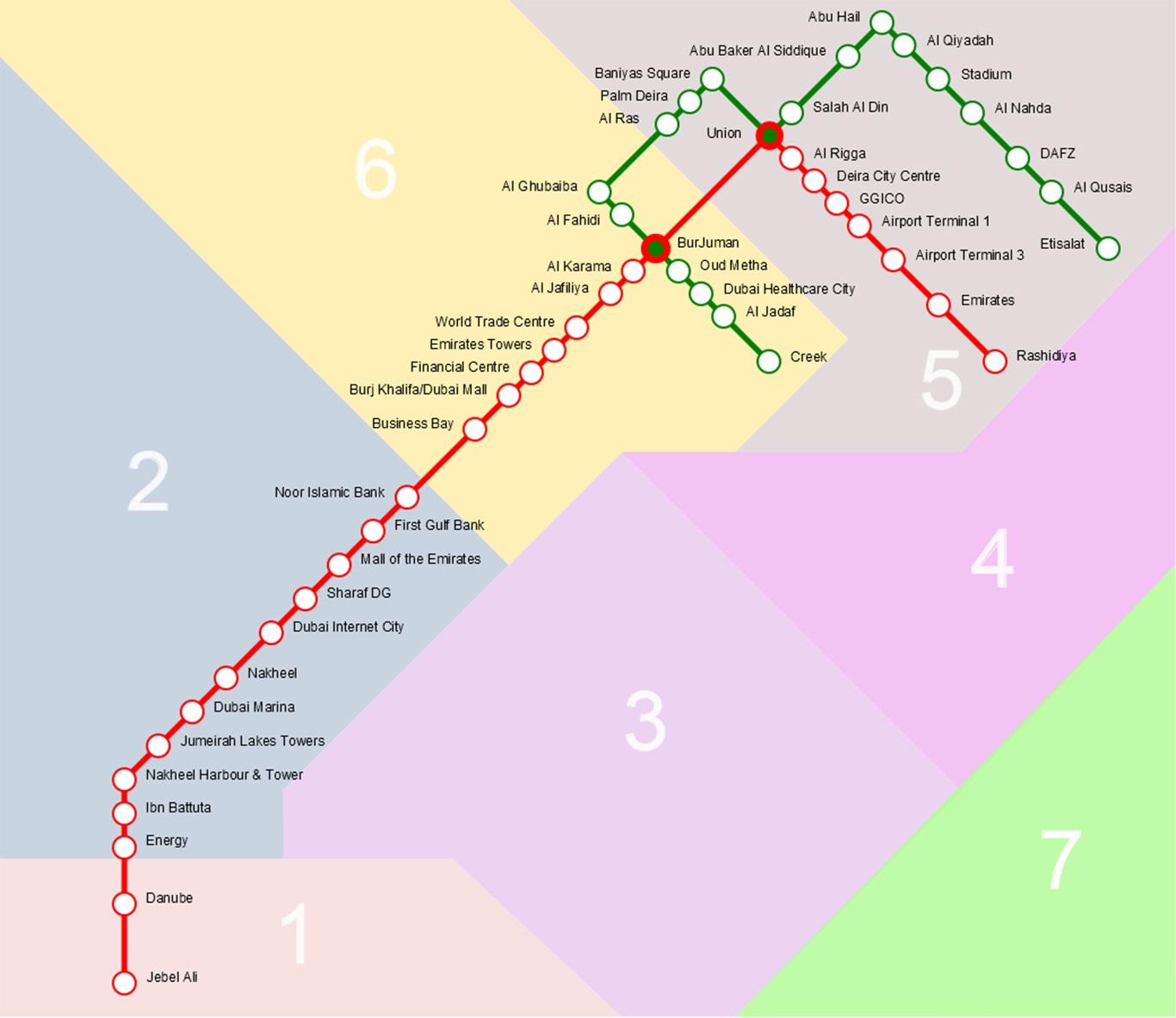 Схема метро Дубая с указанием транспортных зон